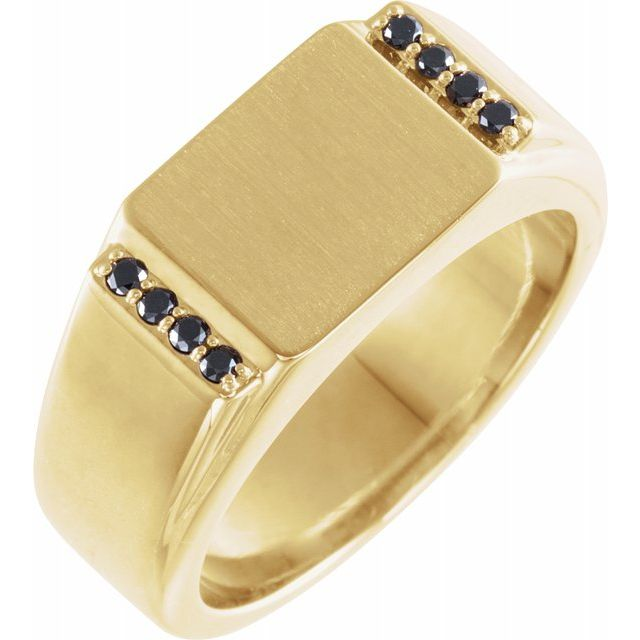 White Diamond Ring in 14 Karat Yellow Gold 1/10 Carat Black Diamond 11.5x10 mm Rectangle Signet Ring