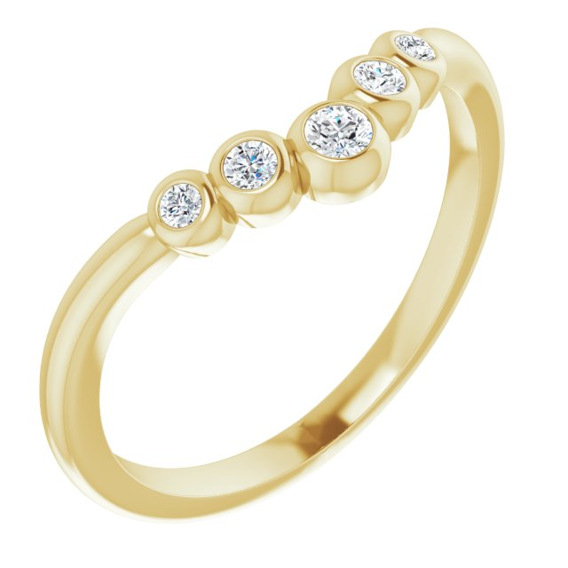 White Diamond Ring in 14 Karat Yellow Gold 1/10 Carat Diamond Bezel-Set Graduated