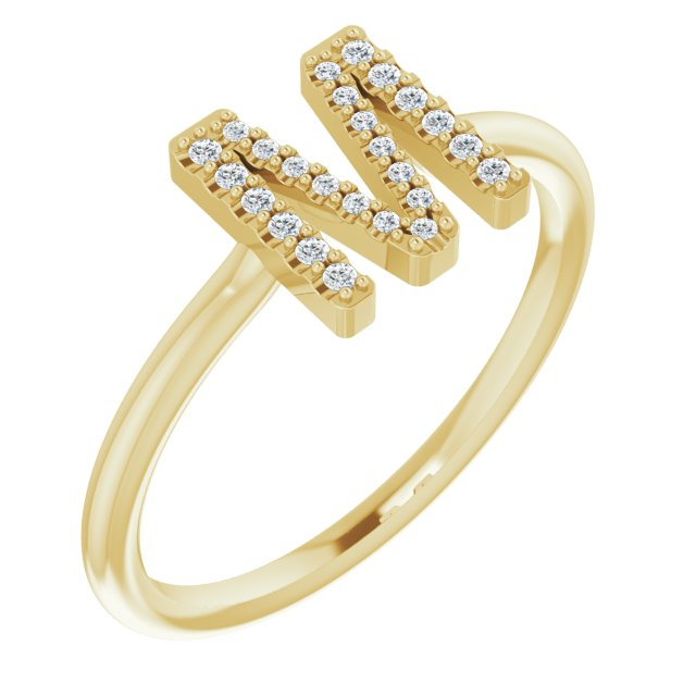 White Diamond Ring in 14 Karat Yellow Gold 1/10 Carat Diamond Initial M Ring