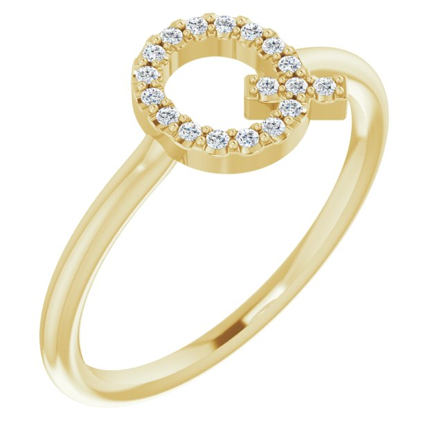White Diamond Ring in 14 Karat Yellow Gold 1/10 Carat Diamond Initial Q Ring