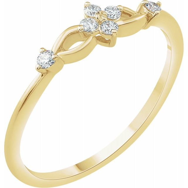 White Diamond Ring in 14 Karat Yellow Gold 1/10 Carat Diamond Ring