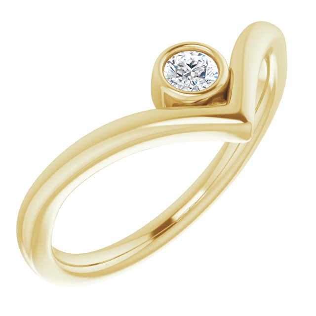 White Diamond Ring in 14 Karat Yellow Gold 1/10 Carat Diamond Solitaire Bezel-Set