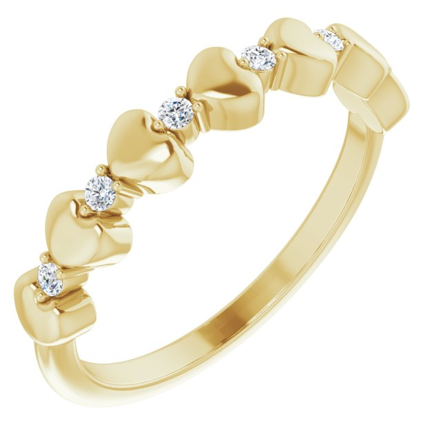 White Diamond Ring in 14 Karat Yellow Gold 1/10 Carat Diamond Stackable Heart Ring