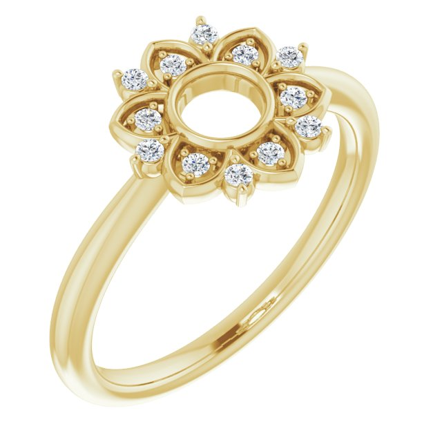 White Diamond Ring in 14 Karat Yellow Gold 1/10 Carat Diamond Starburst Ring