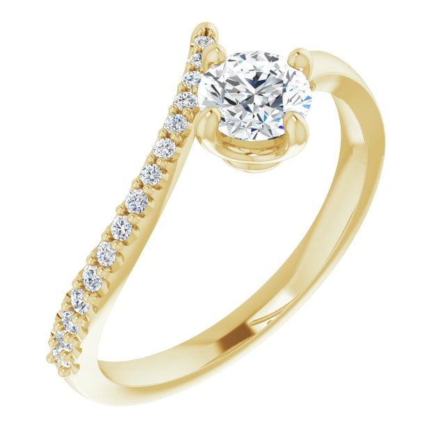 White Diamond Ring in 14 Karat Yellow Gold 1/2 Carat Diamond Bypass Ring