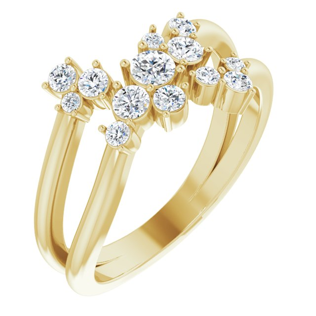 White Diamond Ring in 14 Karat Yellow Gold 1/2 Carat Diamond Cluster Bypass Ring
