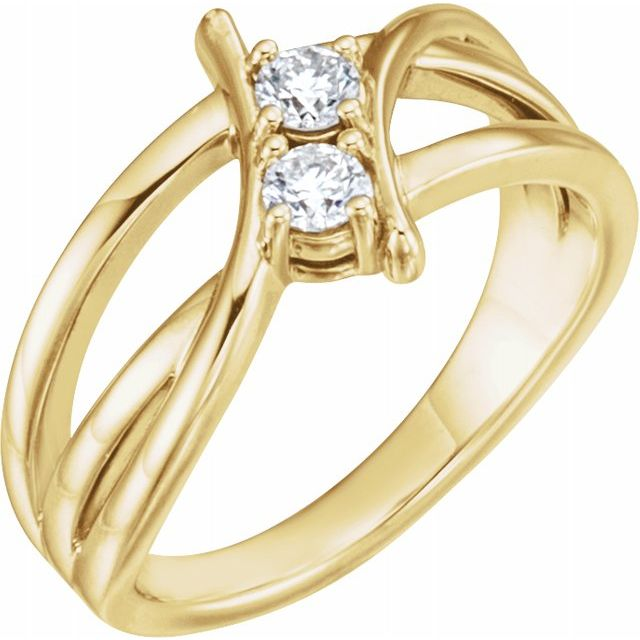 White Diamond Ring in 14 Karat Yellow Gold 1/2 Carat DiamondTwo-Stone Ring
