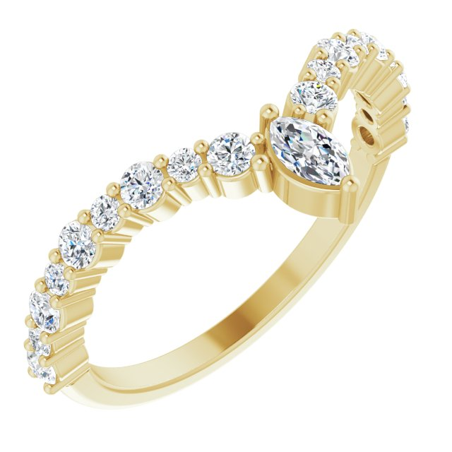 White Diamond Ring in 14 Karat Yellow Gold 1/2 Carat Diamond