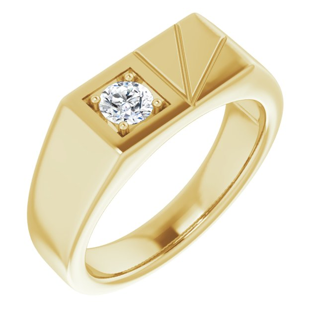 White Diamond Ring in 14 Karat Yellow Gold 1/3 Carat Diamond Men's Ring