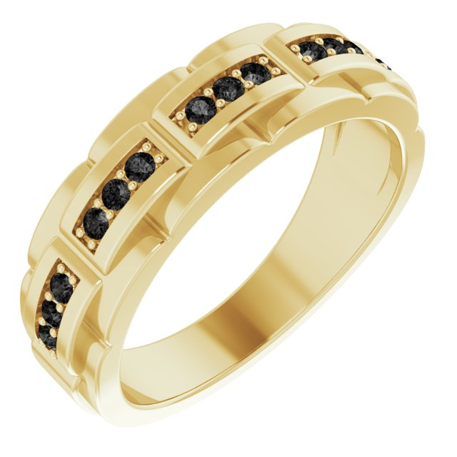 White Diamond Ring in 14 Karat Yellow Gold 1/3 Carat Black Diamond Pattern Ring