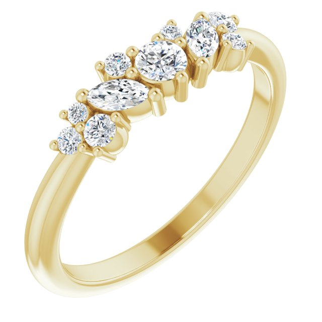 White Diamond Ring in 14 Karat Yellow Gold 1/3 Carat Diamond Multi-Shape Ring