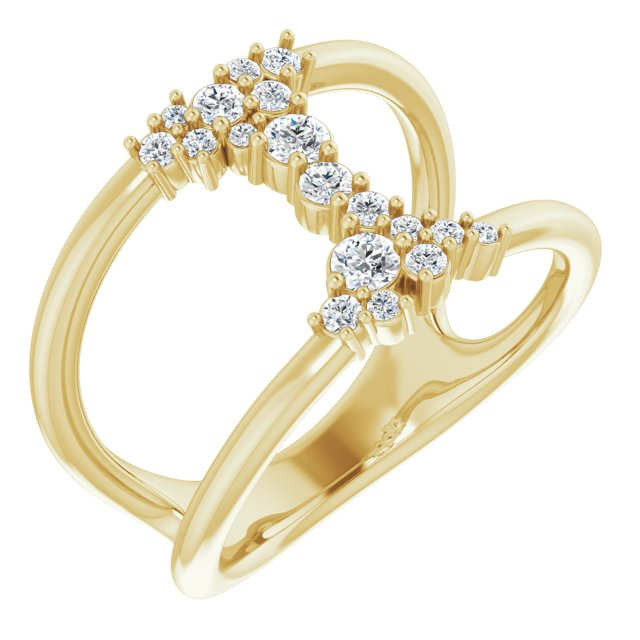 White Diamond Ring in 14 Karat Yellow Gold 1/3 Carat Diamond Negative Space Ring