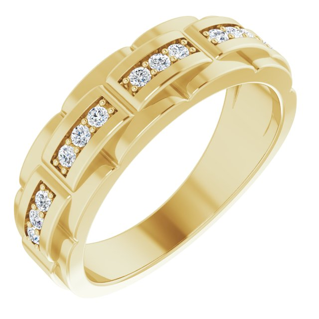 White Diamond Ring in 14 Karat Yellow Gold 1/3 Carat Diamond Pattern Ring