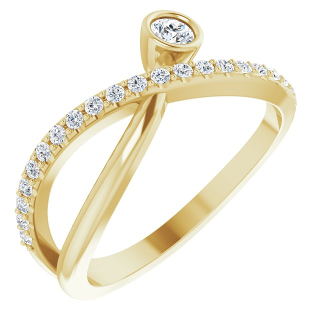White Diamond Ring in 14 Karat Yellow Gold 1/3 Carat Diamond Ring