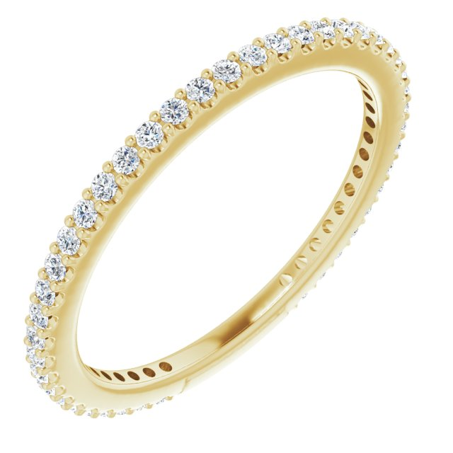 White Diamond Ring in 14 Karat Yellow Gold 1/3 Carat Diamond Stackable Ring Size 4