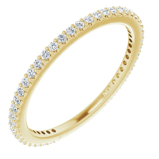 White Diamond Ring in 14 Karat Yellow Gold 1/3 Carat Diamond Stackable Ring Size 6