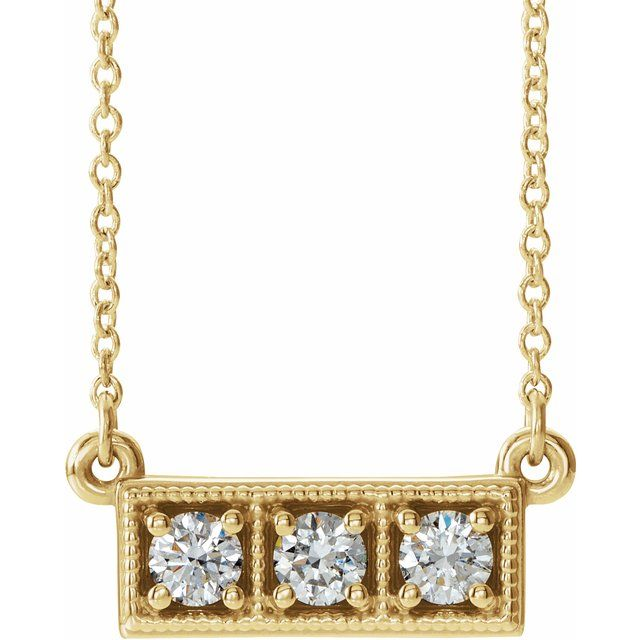 Genuine Diamond Necklace in 14 Karat Yellow Gold 1/3 Carat Diamond Three-Stone Granulated Bar 16-18