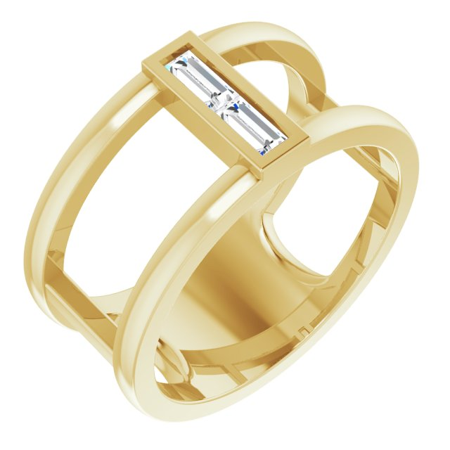 White Diamond Ring in 14 Karat Yellow Gold 1/4 Carat Diamond Baguette Ring