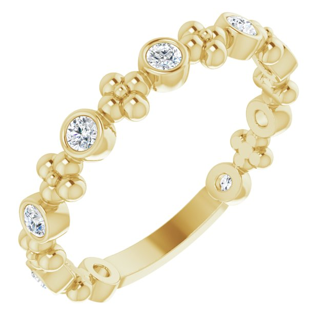 White Diamond Ring in 14 Karat Yellow Gold 1/4 Carat Diamond Beaded Ring