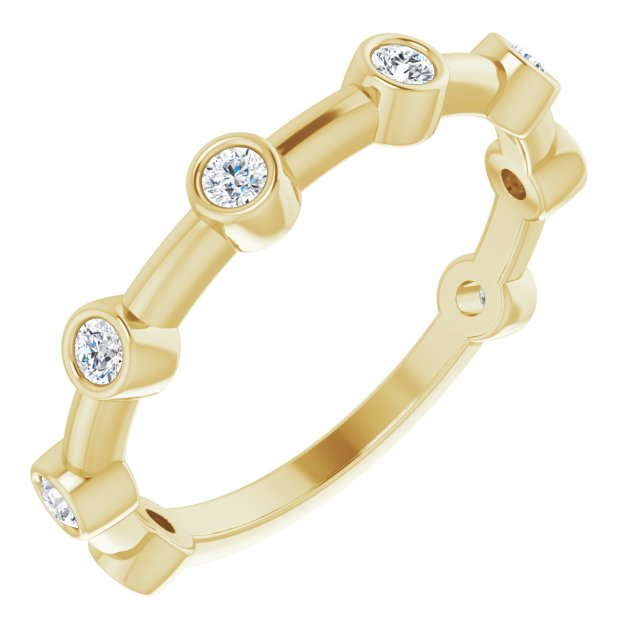 White Diamond Ring in 14 Karat Yellow Gold 1/4 Carat Diamond Bezel-Set Bar Ring