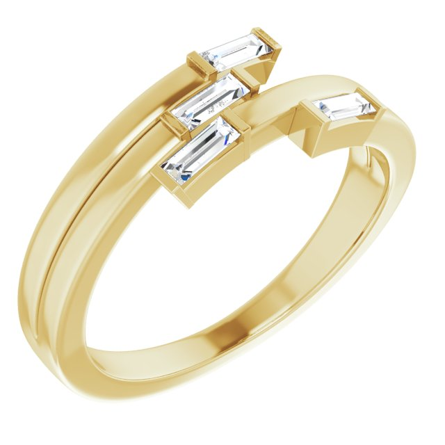 White Diamond Ring in 14 Karat Yellow Gold 1/4 Carat Diamond Geometric Ring