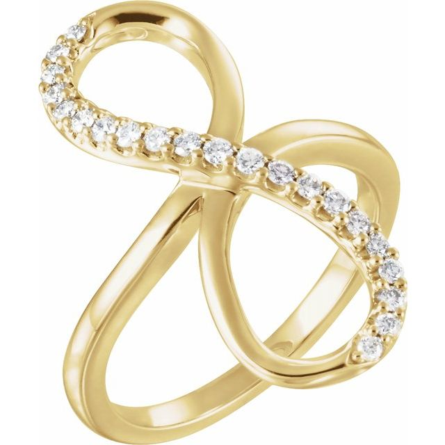 White Diamond Ring in 14 Karat Yellow Gold 1/4 Carat Diamond Infinity-Inspired Ring