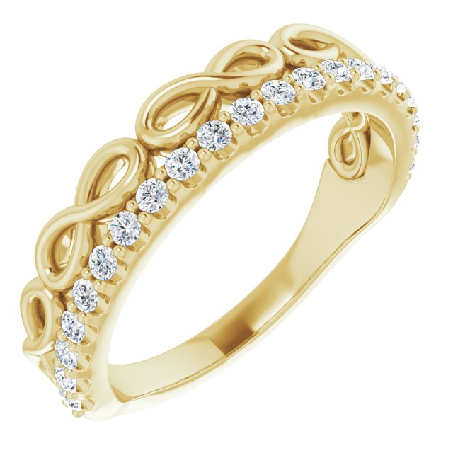 White Diamond Ring in 14 Karat Yellow Gold 1/4 Carat Diamond Infinity-Inspired Stackable Ring