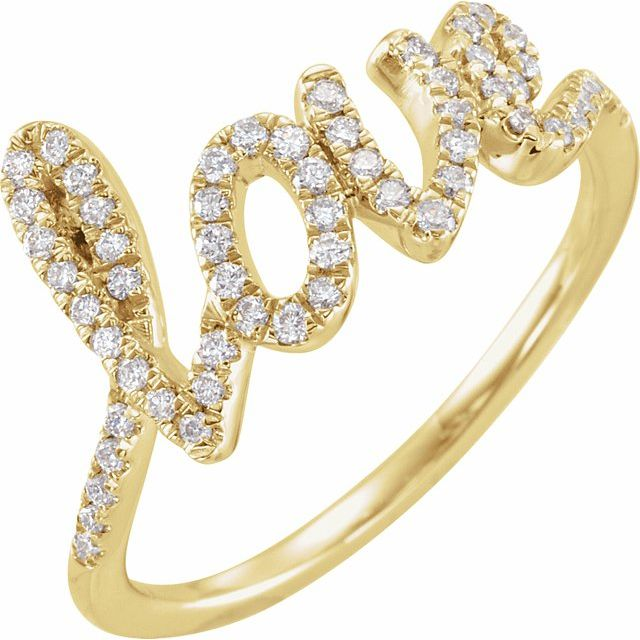 White Diamond Ring in 14 Karat Yellow Gold 1/4 Carat Diamond Love Ring