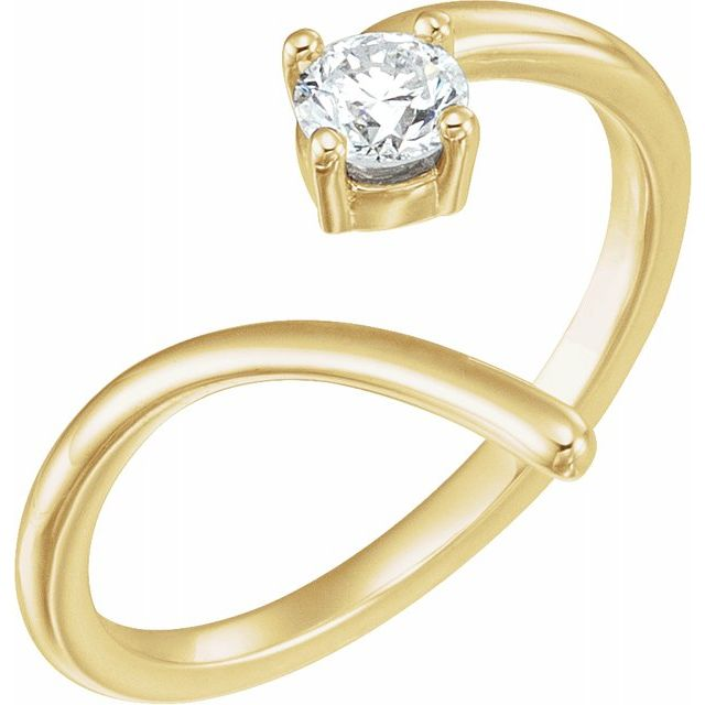 White Diamond Ring in 14 Karat Yellow Gold 1/4 Carat Diamond Negative Space Ring
