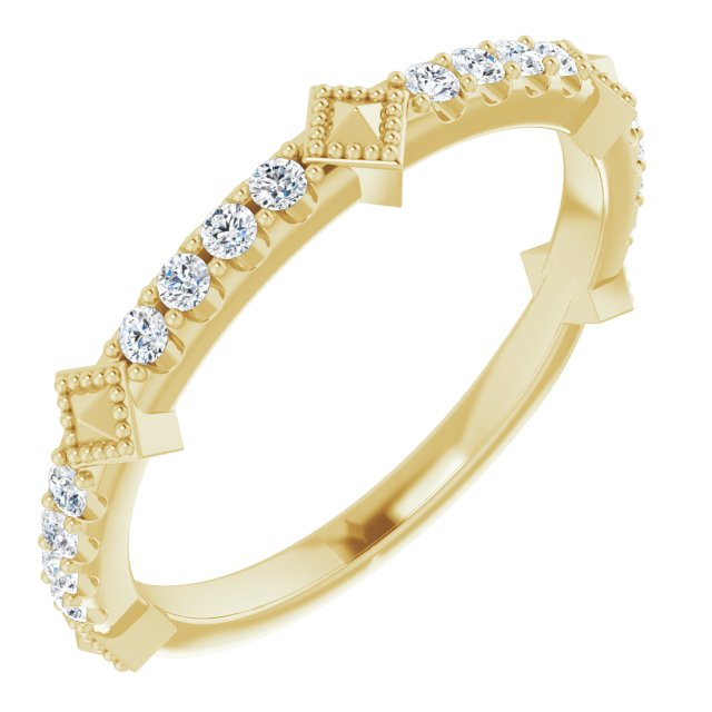 White Diamond Ring in 14 Karat Yellow Gold 1/4 Carat Diamond Stackable Ring