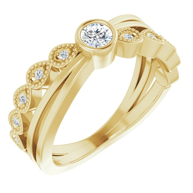 White Diamond Ring in 14 Karat Yellow Gold 1/5 Carat Diamond Ring