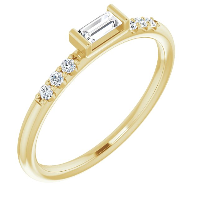 White Diamond Ring in 14 Karat Yellow Gold 1/5 Carat Diamond Stackable Accented Ring