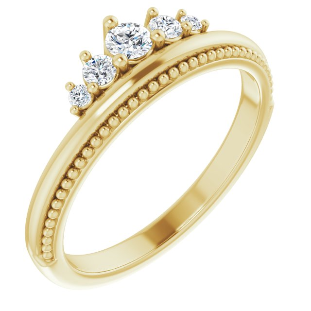 White Diamond Ring in 14 Karat Yellow Gold 1/5 Carat Diamond Stackable Crown Ring