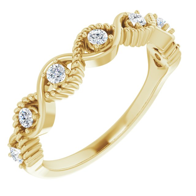 White Diamond Ring in 14 Karat Yellow Gold 1/5 Carat Diamond Stackable Ring
