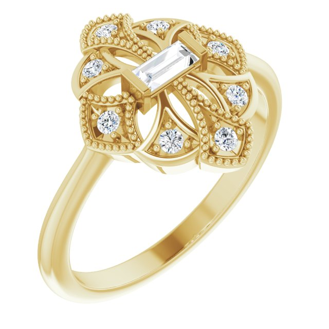 White Diamond Ring in 14 Karat Yellow Gold 1/5 Carat Diamond Vintage-Inspired Ring