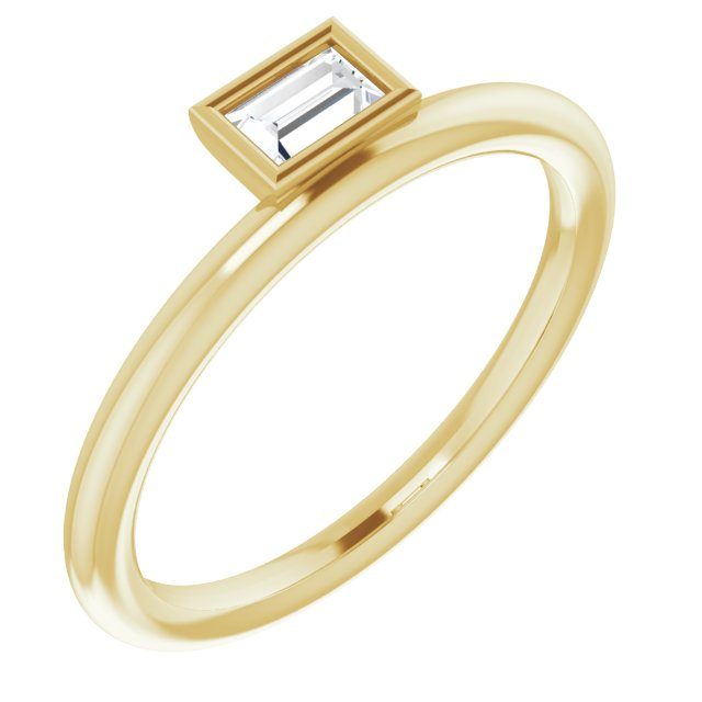 White Diamond Ring in 14 Karat Yellow Gold 1/6 Carat Diamond Asymmetrical Stackable Ring
