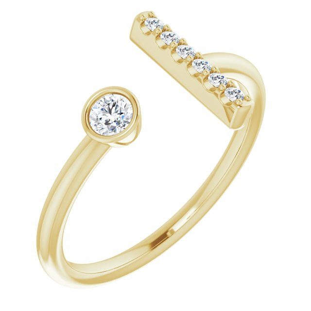 White Diamond Ring in 14 Karat Yellow Gold 1/6 Carat Diamond Bar Ring