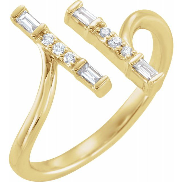 White Diamond Ring in 14 Karat Yellow Gold 1/6 Carat Diamond Double Bar Ring