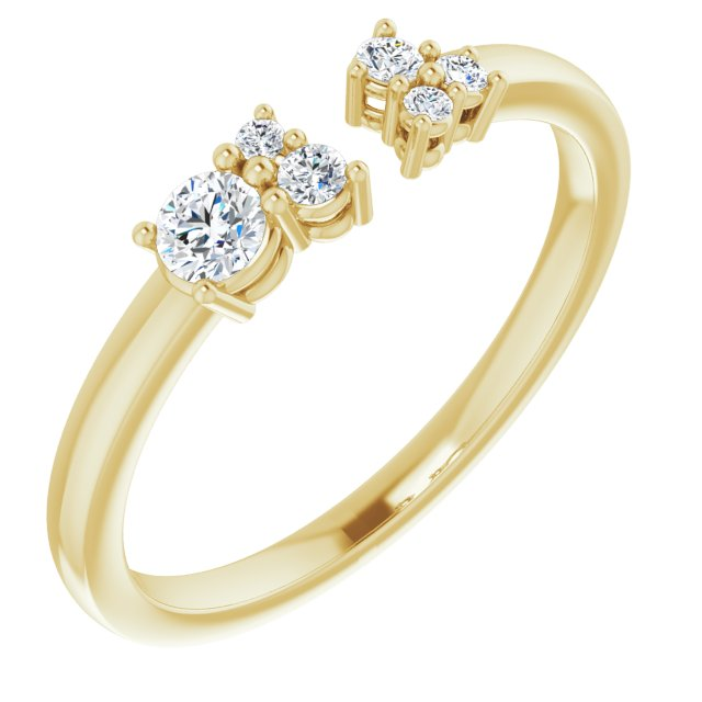 White Diamond Ring in 14 Karat Yellow Gold 1/6 Carat Diamond Negative Space Ring