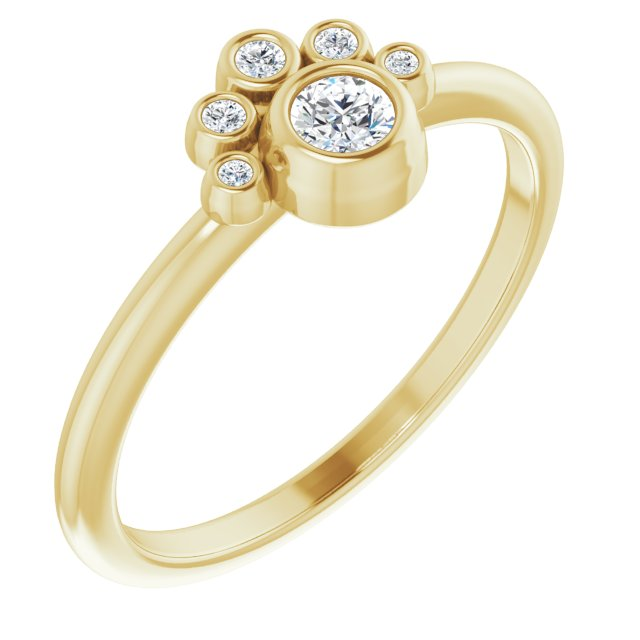 White Diamond Ring in 14 Karat Yellow Gold 1/6 Carat Diamond Ring