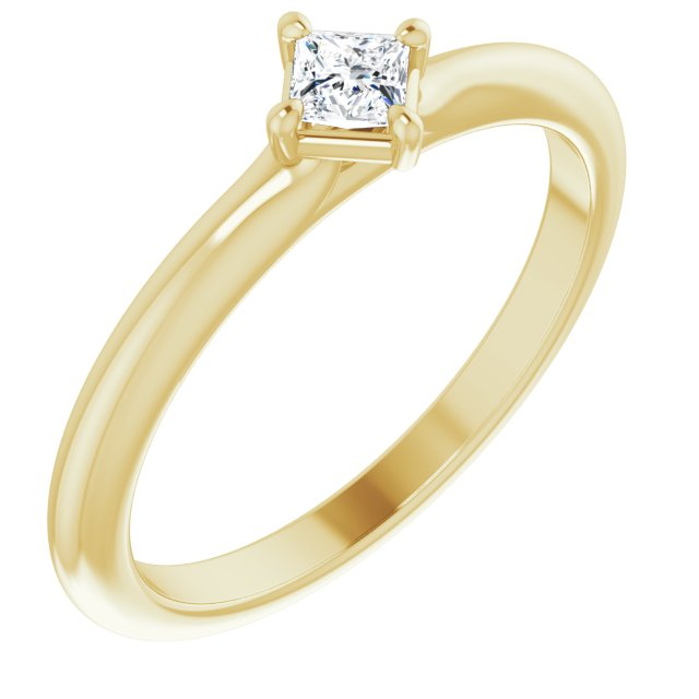 White Diamond Ring in 14 Karat Yellow Gold 1/6 Carat Diamond Solitaire Ring