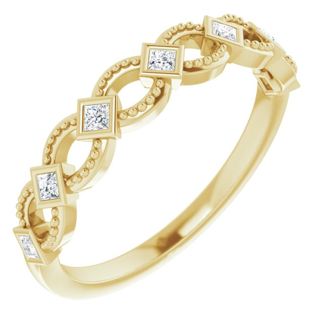 White Diamond Ring in 14 Karat Yellow Gold 1/6 Carat Diamond Stackable Ring