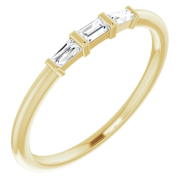 White Diamond Ring in 14 Karat Yellow Gold 1/6 Carat Diamond Three-Stone Stackable Ring