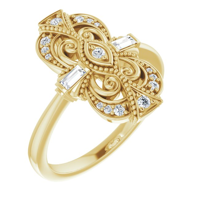 White Diamond Ring in 14 Karat Yellow Gold 1/6 Carat Diamond Vintage-Inspired Ring