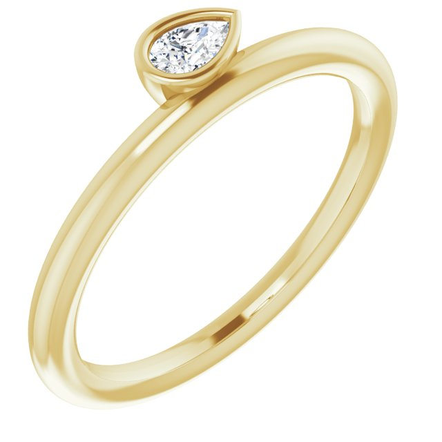 White Diamond Ring in 14 Karat Yellow Gold 1/8 Carat Diamond Asymmetrical Stackable Ring