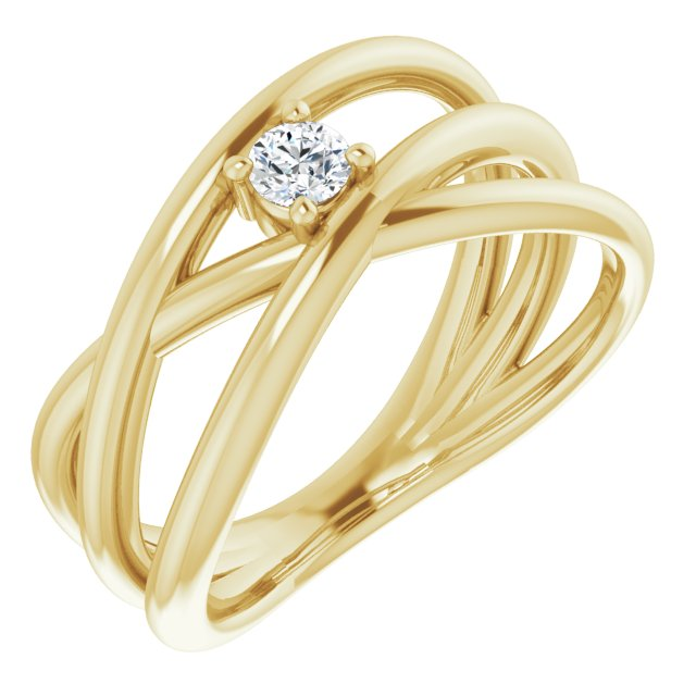 White Diamond Ring in 14 Karat Yellow Gold 1/8 Carat Diamond Negative Space Ring