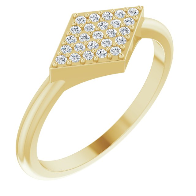White Diamond Ring in 14 Karat Yellow Gold 1/8 Carat Diamond Geometric Ring