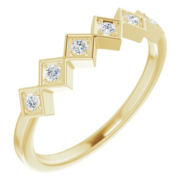 White Diamond Ring in 14 Karat Yellow Gold 1/8 Carat Diamond Stackable Ring