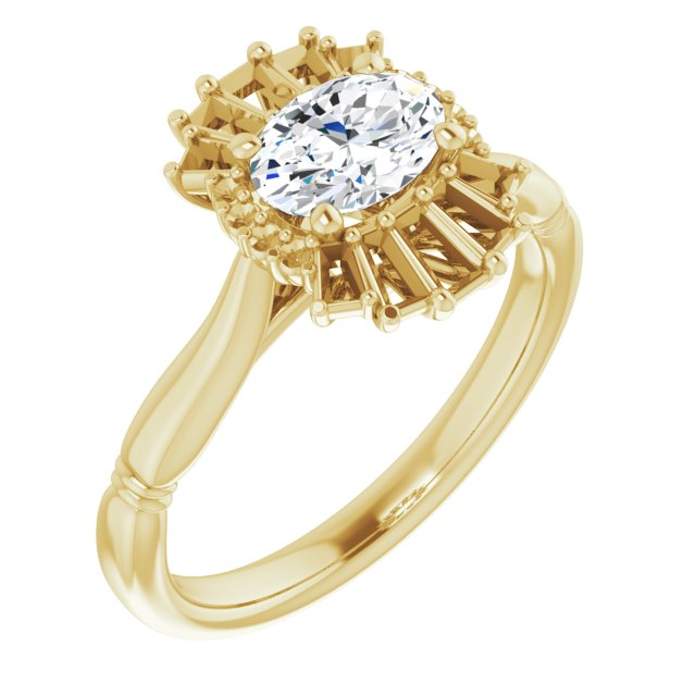 White Diamond Ring in 14 Karat Yellow Gold 1 Carat Diamond Halo-Style Ring