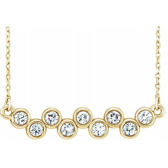 Created Moissanite Necklace in 14 Karat Yellow Gold 2.5 mm Round Forever One Moissanite 18